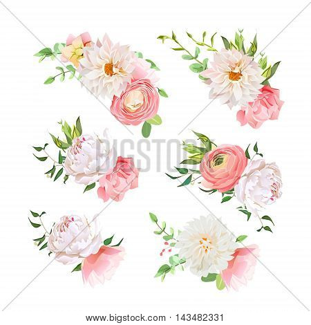 Small summer bouquets of rose, peony, ranunculus, dahlia, carnation, green plants. Vector design elements.