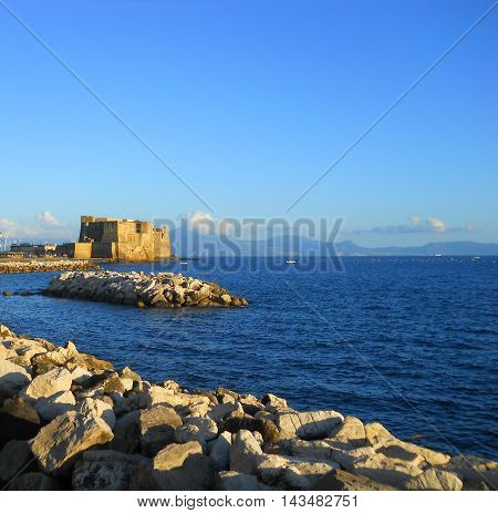 The castle of Naples on blue sea