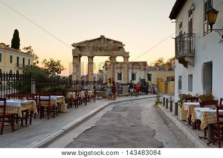 ATHENS, GREECE - AUGUST 20, 2016: Remains of the Gate of Athena Archegetis in Roman Agora, Athens on August 20, 2016.