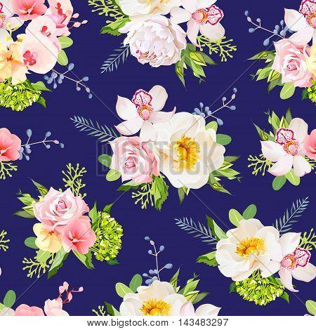 Navy blue summer garden seamless vector design print. Wild rose orchid fresh green leaves berries.