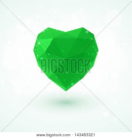 Flag of the Libyan Arab Jamahiriya in shape of diamond glass heart in triangulation style for info graphics, greeting card, celebration of Independence Day, printed materials