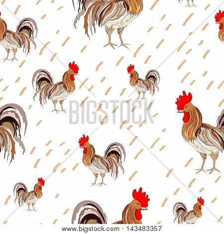 illustration, pattern depicting colored rooster on a white background