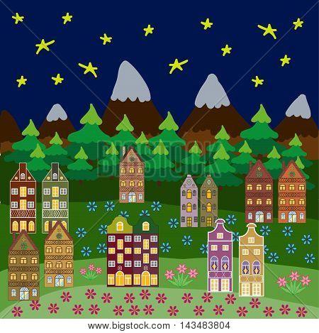 Flat colorful sity buildings set. Raster illustration.