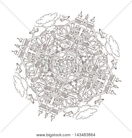 Handdrawn doodle city mandala coloring page. Decorative ornamental vector illustration in oriental style. Color it concept. Useful for coloring book, poster or children book creative design