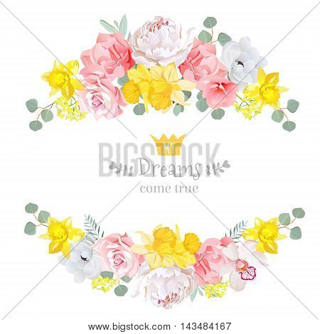 Summer sunny floral vector design frame. Narcissus peony orchid rose pink and yellow flowers eucaliptus leaves. Floral banner stripe elements.