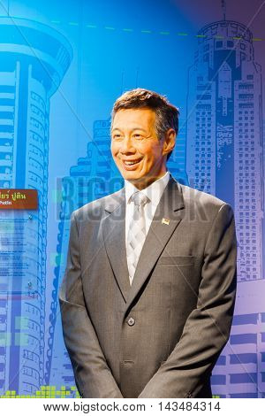 BANGKOK THAILAND - DECEMBER 19: Wax figure of the famous Lee Hsien Loong from Madame Tussauds on December 19 2015 in Bangkok Thailand.