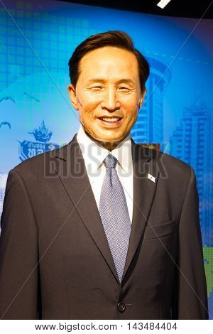 BANGKOK THAILAND - DECEMBER 19: Wax figure of the famous Lee Myung Bak from Madame Tussauds on December 19 2015 in Bangkok Thailand