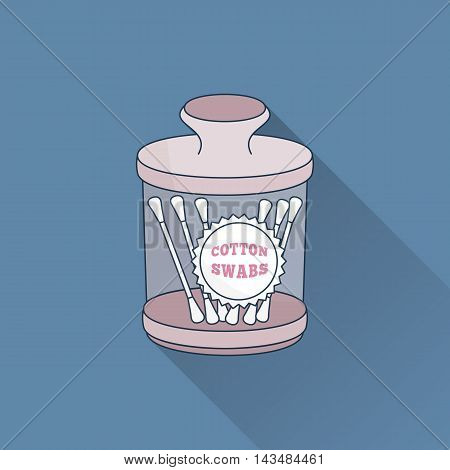 Hand drawn jar with cotton swabs. Flat icon with long shadow. Concept for beauty salon massage cosmetic and spa. Isolated high quality vector graphic. Easy to use business template.