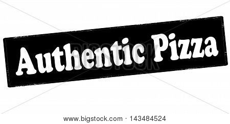 Rubber stamp with text authentic pizza inside vector illustration