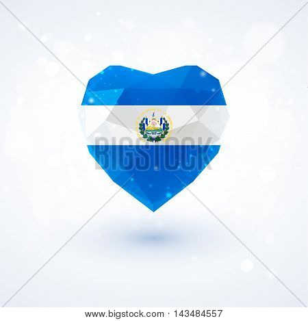 Flag of El Salvador in shape of diamond glass heart in triangulation style for info graphics, greeting card, celebration of Independence Day, printed materials