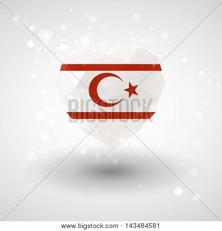 Flag of Northern Cyprus in shape of diamond glass heart in triangulation style for info graphics, greeting card, celebration of Independence Day, printed materials