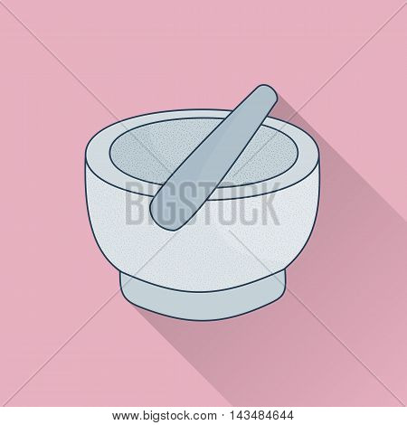 Hand drawn mortar and pestle. Flat icon with long shadow. Concept for beauty salon massage cosmetic and spa. Isolated high quality vector graphic. Easy to use business template.