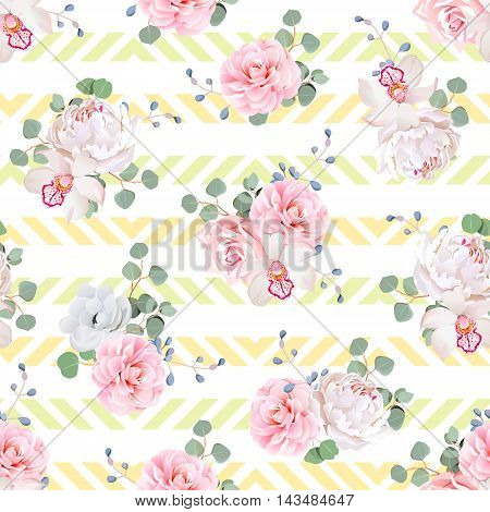 Cute bouquets of rose peony camellia orchid anemone camellia blue berries and eucaliptis leaves. Seamless vector print on striped summer yellow background.