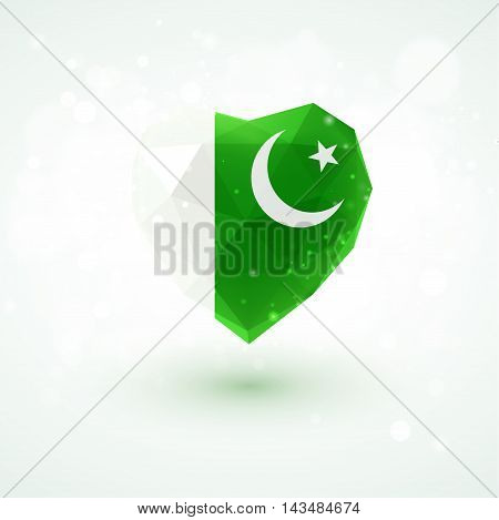 Flag of Pakistan in shape of diamond glass heart in triangulation style for info graphics, greeting card, celebration of Independence Day, printed materials