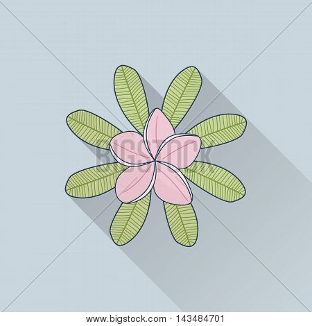 Hand drawn frangipani plumeria. Flat icon with long shadow. Concept for beauty salon massage cosmetic and spa. Isolated high quality vector graphic. Easy to use business template