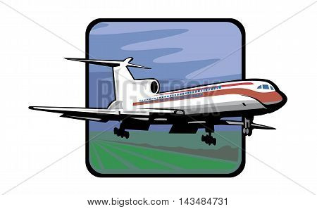 Airplane flying in the blue sky background. Airplane in sky concept.
