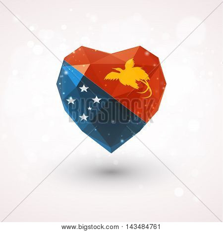 Flag of Papua New Guinea in shape of diamond glass heart in triangulation style for info graphics, greeting card, celebration of Independence Day, printed materials