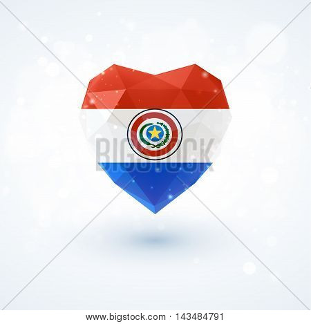 Flag of Paraguay in shape of diamond glass heart in triangulation style for info graphics, greeting card, celebration of Independence Day, printed materials