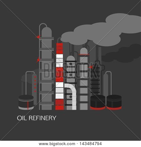 Oil refinery or chemical plant image. Vector illustration im black, red and grey colors on a dark grey background. Oil patch symbol