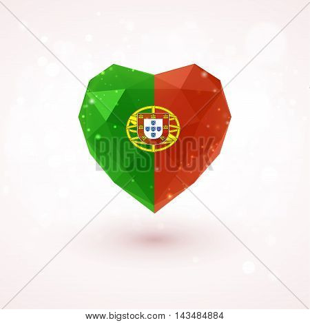 Flag of Portugal in shape of diamond glass heart in triangulation style for info graphics, greeting card, celebration of Independence Day, printed materials