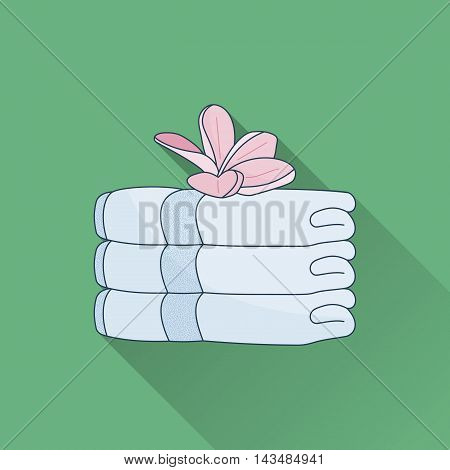 Hand drawn stack of towels and plumeria. Flat icon with long shadow. Concept for beauty salon massage cosmetic and spa. Isolated high quality vector graphic. Easy to use template.