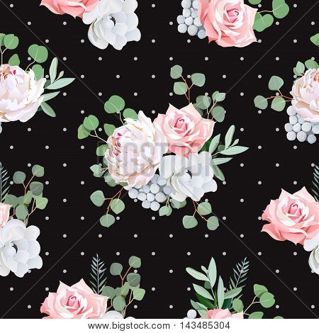 Black pattern with bouquets of rose peony anemone brunia flowers and eucaliptis leaves. Seamless vector print and polka dots backdrop.