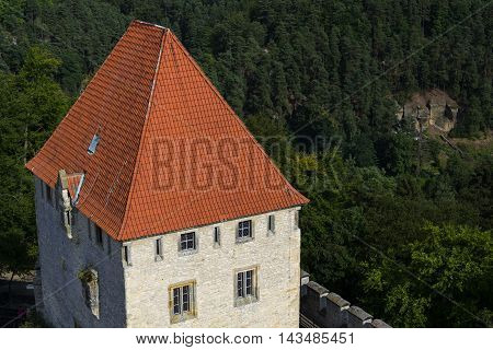 Medieval Kokorin Castle In Woods Of The Czech Republic
