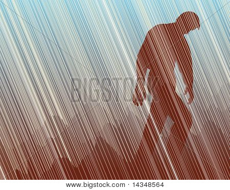 Illustration of a man walking in torrential rain