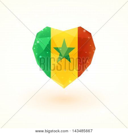 Flag of Senegal in shape of diamond glass heart in triangulation style for info graphics, greeting card, celebration of Independence Day, printed materials