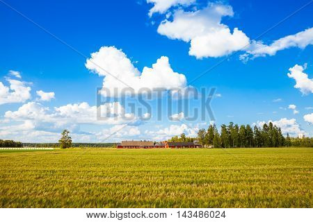 Red Farm In Rural Finland