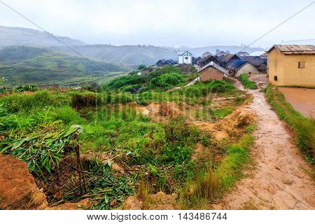 Village In The Mountains Of Africa On A Misty Rainy Morning