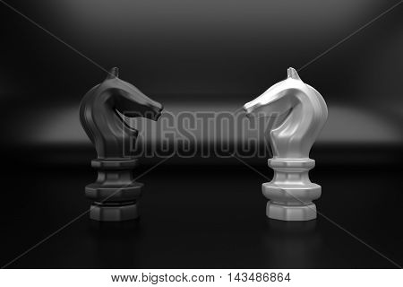 Knight chess confront black and white on black background 3d rendering