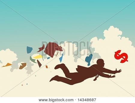 Vector colorful silhouette of a businessman desperately trying to catch a falling dollar