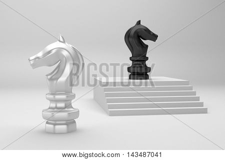 Black Chess knight on top 3d rendering