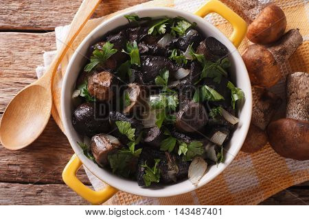 Roasted Porcini Mushrooms With Herbs And Spices On Wooden Background, Horizontal Top View