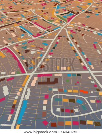 Editable vector illustration of a generic colorful street map without names