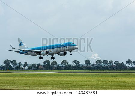 Schiphol Airport the Netherlands - August 20 2016: KLM boeing 737-800 landing