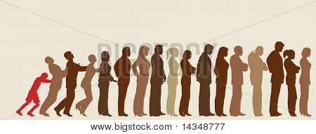 Queue of editable vector people silhouettes with impatient boy pushing them like dominoes