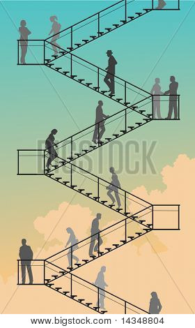 Editable vector silhouettes of people walking up and down flights of stairs with sky background