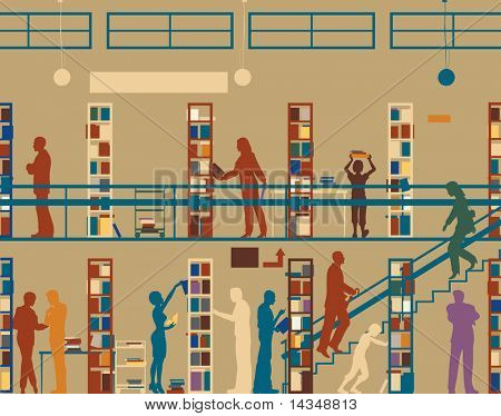 Editable vector silhouette of colorful people in a library