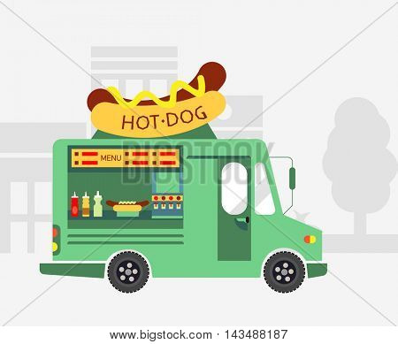 Street Food Hot dog Food Truck. Vector illustration