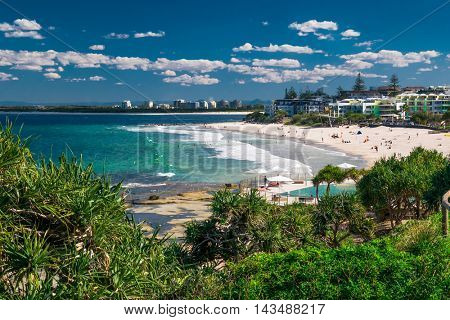 CALOUNDRA, AUS - AUG 13 2016: Hot sunny day at Kings Beach Calundra, Queensland, Australia
