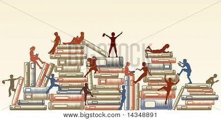 Ilustração das crianças lendo e escalando sobre pilhas de livros