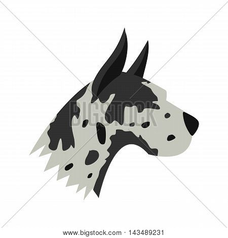 Great dane dog icon in flat style isolated on white background. Animals symbol
