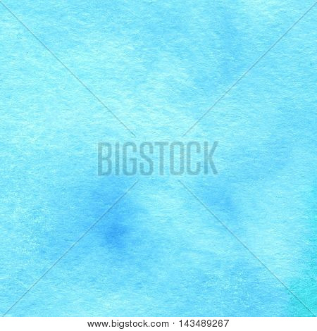 Blue watercolor texture hand painted background. Brush strokes wallpaper. Wet stains design card for print scrapbook textile fabric banner decor