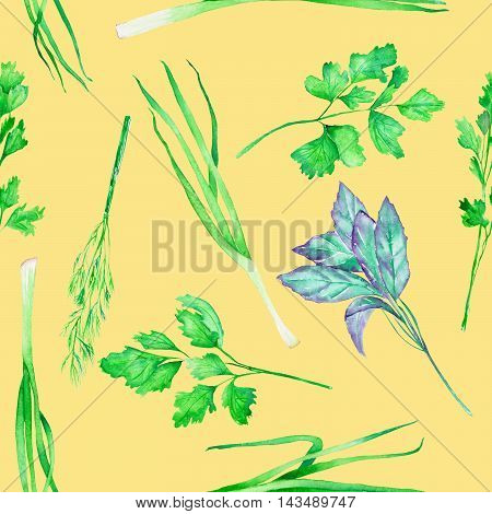 A seamless pattern with the isolated watercolor spices (spicy herbs): onion green, dill, parsley, cilantro and basil, painted on a yellow background