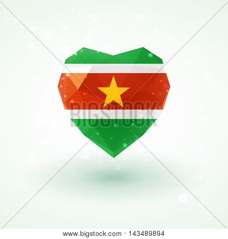 Flag of Suriname in shape of diamond glass heart in triangulation style for info graphics, greeting card, celebration of Independence Day, printed materials