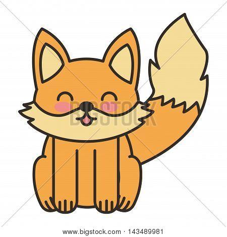 cute fox animal tender isolated icon vector illustration design