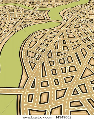 Angled editable vector illustration of a generic street map with no names