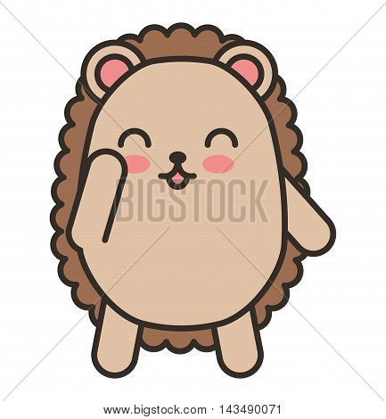 cute purcopine animal tender isolated icon vector illustration design